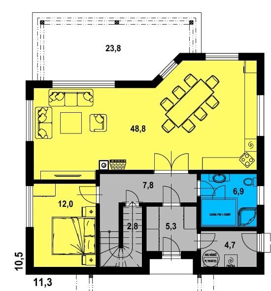 Realizace domu se střešní terasou - uliční pohled